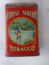 VINTAGE ADVERTISING FOREST & STREAM TOBACCO VERTICAL POCKET TIN FISHERMAN 23E