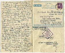 ADEN CDS on 1944 AIRMAIL LETTERCARD from F MCNAMARA AUSTRALIAN AIRMAN VC in WW1