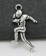 Tibetan silver charm pendant Race walking athletes fit DIY 10pcs 30x15mm 1.6g