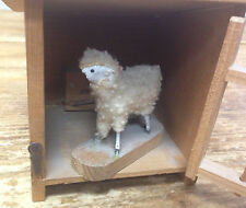 Antique Vintage Toy Lamb Mechanical German Putz Wooly Sheep 1900's AS IS Cage