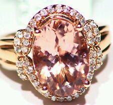 6.00CT 14K ROSE GOLD NATURAL MORGANITE CUT WHITE DIAMOND VINTAGE ENGAGEMENT RING