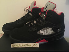 Nike air jordan 5 v SUPREME nyc US 9 UK 8 42,5 2015 Rétro Noir Blanc Rouge AJ5