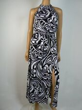 Michael Kors Black White Shirred Neckline Matte Jersey Maxi Dress P 2 NEW M380