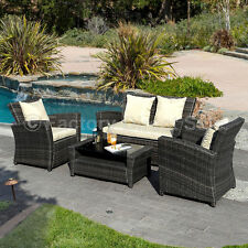 Outdoor 4 PCS Brown Wicker Cushioned Rattan Patio Set Lawn Sofa Furniture