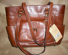 "$199 Patricia Nash Oil Rub Bolsena Tan ITALIAN LEATHER 15"" large Tote Handbag"