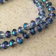 Versatile Crystal Bead Necklace -- Beautiful Clear, Blue, Green, Purple beads