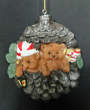 Pine Cone Christmas Ornament Brown Bears Boxed  Free USA Shipping