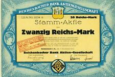 !! REICHENBACHER BANK AG 1924 ! DEKO ! 20 RM Stammaktie !! Reichenbach Vogtland