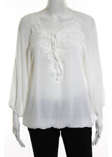 NWT MAX STUDIO White Embroidered Boat Neck Lace Up Top Sz M $88