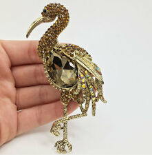 Unique Flamingos Bird Gold-Tone Brooch Pin Pendant Brown Rhinestone Crystal