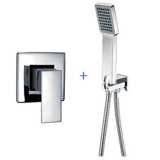 Plastic Chrome Hand Held Shower Head With Wall Connector & Shower Mixer Set