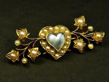 SUPERB ANTIQUE EDWARDIAN ENGLISH 15K GOLD MOONSTONE PEARL HEART BROOCH PIN c1900