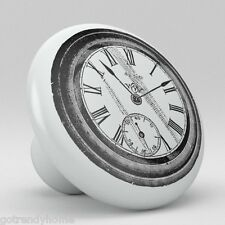 Clock Design Ceramic Knobs Pull Kitchen Bathroom Closet Drawer Cabinet 154