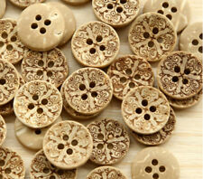 "Lot of 10 CROSS 4-hole Coconut Shell Buttons 0.5"" (13mm) Scrapbook Craft (1173)"