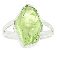 Natural Green Amethyst Rough 925 Sterling Silver Ring Jewelry s.9 SR210679