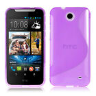 PURPLE S CURVE GEL TPU Jelly CASE COVER FOR Telstra HTC Desire 310