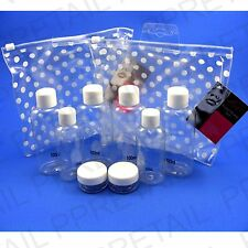 10Pc FLIGHT BOTTLES SET Clear Cosmetic Airport 100ml CARRY ON Liquid Container