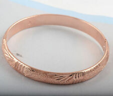 "Pretty 9K Rose Gold Filled Carved / Engraved Design 3/8"" Hinged Bangle Bracelet"