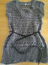 Anthropologie I Love H81 Knit S Tunic Knit Sweater Belted Gray New Wool Blend