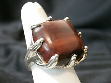 Sterling Silver Ring w/Beautiful Brown Stone. Heavy. Stunning Piece! Make Offer.