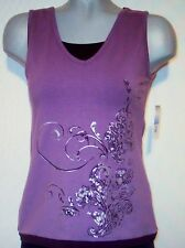 NWT SJB ACTIVE Built In Bra SLEEVELESS STRETCH TOP PS