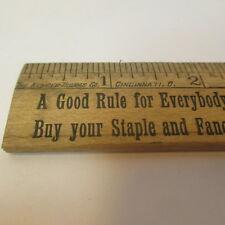 Antique 1880's Kemper Thomas Advertising Ruler - J. Wehner Grocery Indiana