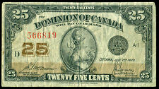 1923 DC-24c, Dominion of Canada 25 Cent Note - McCavour Saunders, D Checkletter