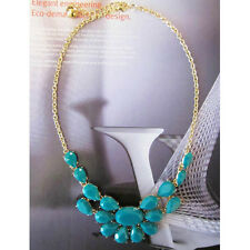 NEW Teal Acrylic Statement Gold Bauble Bib Necklace