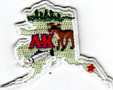 """AK"" - ALASKA STATE SHAPE - Iron On Embroidered Applique Patch"