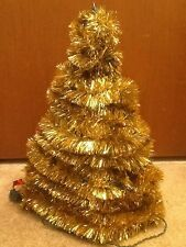 "Vintage Gold 17"" Tinsel Tabletop Christmas Tree PRE LIT"