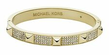 BRAND NEW MICHAEL KORS MKJ3822710 MKJ3822 CRYSTAL & GOLD PYRAMID BANGLE BRACELET
