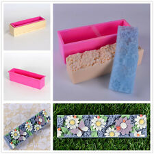 Nicole Flower Design Silicone Loaf Soap Bar Molds DIY Soap Mould With Wooden Box