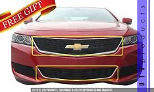 GTG 2014 - 2017 Chevy Impala 2PC Gloss Black Overlay Billet Grille Grill Kit