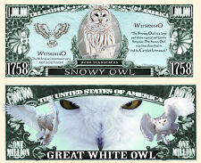 Snowy White Owl Million Dollar Bill Collectable Fun Money Novelty Note