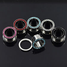 Stainless Steel Ear Tunnels Plugs Screw Fit Ear Gauges Body Candy Body Jewelry 2