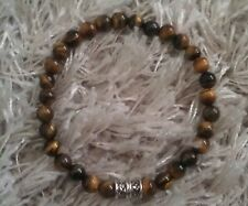 TIGERS EYE 6mm GEMSTONE BEADED MENS/WOMEN SURFER STYLE BRACELET