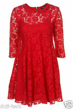 Topshop Red Lace Peter Pan Collar Mini Tunic Vtg Shift Tea Party Dress 12 40 US8