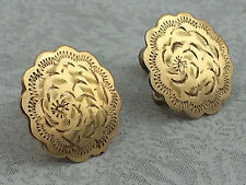 ANTIQUE - GOLD FILLED & .925 STERLING SILVER FLORAL ETCHED EARRINGS SCREW BACKS