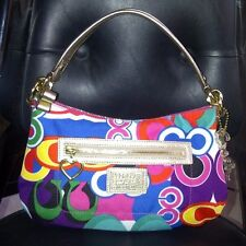 AUTH COACH POPPY Pop C Print Hobo Shoulder Handbag Purse F20039 Multicolored