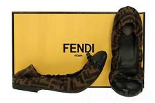 NEW FENDI FF ZUCCA TESSUTO LEATHER BALLET BALLERINA FLATS SHOES 38/US  8