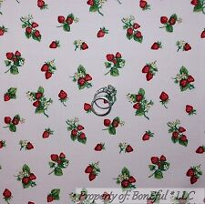 BonEful Fabric FQ Cotton Quilt Pink White Red Strawberry VTG Flower Calico Green