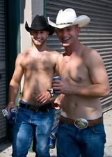 Shirtless Male Athletic Cowboy Hunks Hairy Chest Piercing Smiling PHOTO 4X6 C760