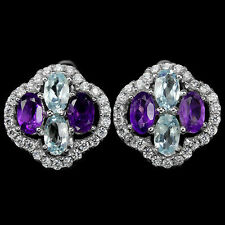 BRILLIANT! SKY BLUE TOPAZ AMETHYST GEMSTONE & CZ STERLING 925 SILVER EARRINGS