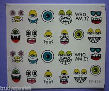Halloween Nail Art Water Decals Stickers Transfers Trick or Treat Funny Faces