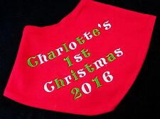 PERSONALISED MY 1ST CHRISTMAS NEW BABY bandana BIB GIFT BOY GIRL XMAS FIRST red
