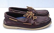 SPERRY TOP-SIDER men's BROWN LEATHER BOAT SHOES SZ 6M IN VERY GOOD+ COND.