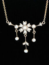 Edwardian 9ct seed pearl lavaliere necklace