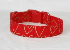 "1.5"" Large Snap Dog Collar Gold and Gray Hearts on Red"