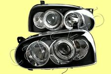 Headlight Front Lamps Black PAIR Fits VW Golf Mk3 1992-1997