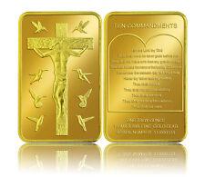 ★★ JOLI LINGOT PLAQUE OR  ● JESUS CHRIST ET LES 10 COMMANDEMENTS ★★